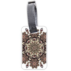 Mandala Pattern Round Brown Floral Luggage Tags (one Side)