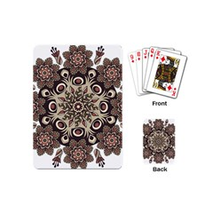 Mandala Pattern Round Brown Floral Playing Cards (mini)