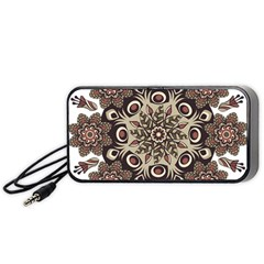 Mandala Pattern Round Brown Floral Portable Speaker (black)