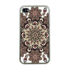 Mandala Pattern Round Brown Floral Apple Iphone 4 Case (clear)