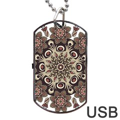 Mandala Pattern Round Brown Floral Dog Tag Usb Flash (two Sides)