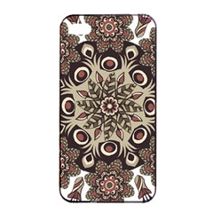 Mandala Pattern Round Brown Floral Apple Iphone 4/4s Seamless Case (black) by Nexatart
