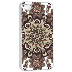 Mandala Pattern Round Brown Floral Apple Iphone 4/4s Seamless Case (white)