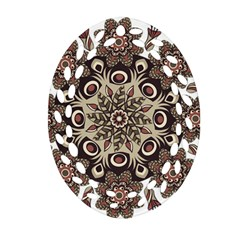 Mandala Pattern Round Brown Floral Ornament (oval Filigree)
