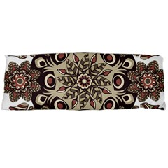 Mandala Pattern Round Brown Floral Body Pillow Case (dakimakura)