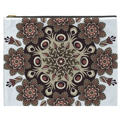 Mandala Pattern Round Brown Floral Cosmetic Bag (xxxl)