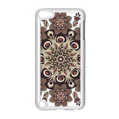 Mandala Pattern Round Brown Floral Apple Ipod Touch 5 Case (white) by Nexatart
