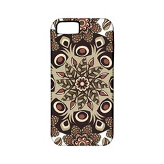 Mandala Pattern Round Brown Floral Apple Iphone 5 Classic Hardshell Case (pc+silicone) by Nexatart