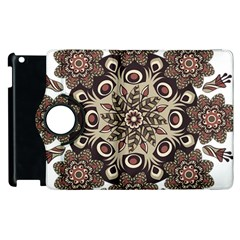Mandala Pattern Round Brown Floral Apple Ipad 2 Flip 360 Case by Nexatart