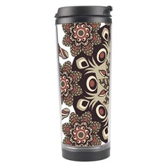 Mandala Pattern Round Brown Floral Travel Tumbler
