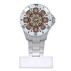 Mandala Pattern Round Brown Floral Plastic Nurses Watch