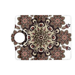 Mandala Pattern Round Brown Floral Kindle Fire Hd (2013) Flip 360 Case by Nexatart