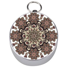 Mandala Pattern Round Brown Floral Silver Compasses by Nexatart