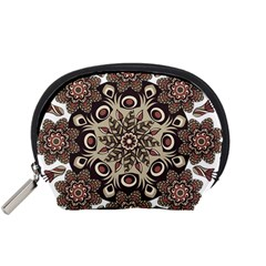 Mandala Pattern Round Brown Floral Accessory Pouches (small)