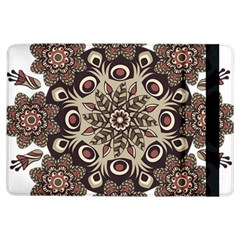 Mandala Pattern Round Brown Floral Ipad Air Flip