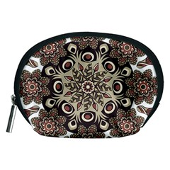 Mandala Pattern Round Brown Floral Accessory Pouches (medium)