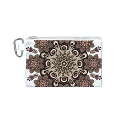 Mandala Pattern Round Brown Floral Canvas Cosmetic Bag (s)