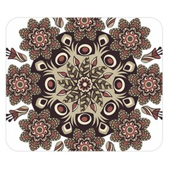 Mandala Pattern Round Brown Floral Double Sided Flano Blanket (small)