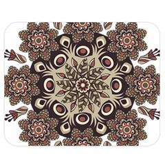 Mandala Pattern Round Brown Floral Double Sided Flano Blanket (medium)  by Nexatart