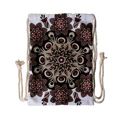 Mandala Pattern Round Brown Floral Drawstring Bag (small)