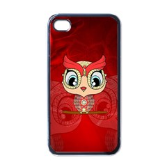 Cute Colorful  Owl, Mandala Design Apple Iphone 4 Case (black) by FantasyWorld7