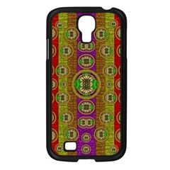 Rainbow Flowers In Heavy Metal And Paradise Namaste Style Samsung Galaxy S4 I9500/ I9505 Case (black) by pepitasart