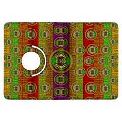 Rainbow Flowers In Heavy Metal And Paradise Namaste Style Kindle Fire Hdx Flip 360 Case by pepitasart
