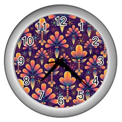Floral Abstract Purple Pattern Wall Clocks (silver)  by paulaoliveiradesign