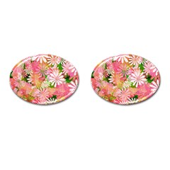 Pink Flowers Floral Pattern Cufflinks (oval) by paulaoliveiradesign