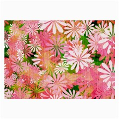 Pink Flowers Floral Pattern Large Glasses Cloth (2 Side) by paulaoliveiradesign