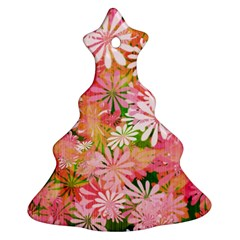Pink Flowers Floral Pattern Christmas Tree Ornament (two Sides) by paulaoliveiradesign