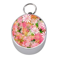 Pink Flowers Floral Pattern Mini Silver Compasses by paulaoliveiradesign