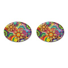 Colorful Abstract Pattern Kaleidoscope Cufflinks (oval) by paulaoliveiradesign