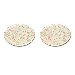Colorful Pink Floral Cute Pattern Cufflinks (oval) by paulaoliveiradesign