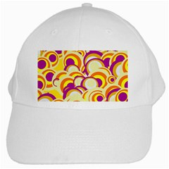 Retro Pattern 1973f White Cap by MoreColorsinLife