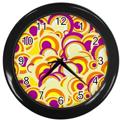 Retro Pattern 1973f Wall Clocks (black) by MoreColorsinLife