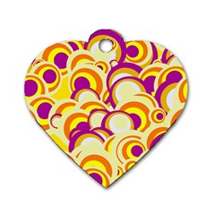 Retro Pattern 1973f Dog Tag Heart (one Side) by MoreColorsinLife