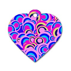 Retro Pattern 1973b Dog Tag Heart (two Sides) by MoreColorsinLife