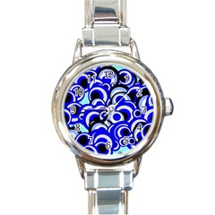 Retro Pattern 1973e Round Italian Charm Watch by MoreColorsinLife