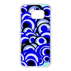 Retro Pattern 1973e Samsung Galaxy S7 Edge White Seamless Case by MoreColorsinLife