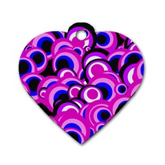 Retro Pattern 1973d Dog Tag Heart (one Side) by MoreColorsinLife