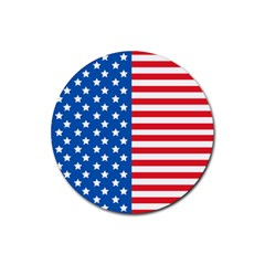 Usa Flag Rubber Round Coaster (4 Pack)  by stockimagefolio1
