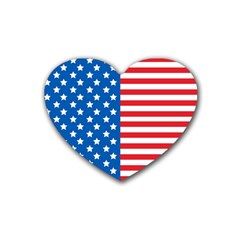 Usa Flag Rubber Coaster (heart)  by stockimagefolio1