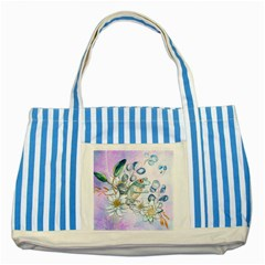 Funny, Cute Frog With Waterlily And Leaves Striped Blue Tote Bag by FantasyWorld7