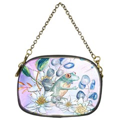 Funny, Cute Frog With Waterlily And Leaves Chain Purses (one Side)  by FantasyWorld7