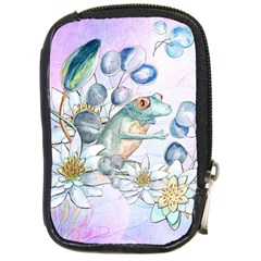 Funny, Cute Frog With Waterlily And Leaves Compact Camera Cases by FantasyWorld7