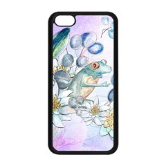 Funny, Cute Frog With Waterlily And Leaves Apple Iphone 5c Seamless Case (black) by FantasyWorld7