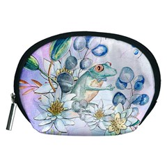 Funny, Cute Frog With Waterlily And Leaves Accessory Pouches (medium)  by FantasyWorld7