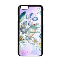 Funny, Cute Frog With Waterlily And Leaves Apple Iphone 6/6s Black Enamel Case by FantasyWorld7