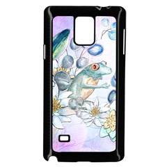 Funny, Cute Frog With Waterlily And Leaves Samsung Galaxy Note 4 Case (black) by FantasyWorld7